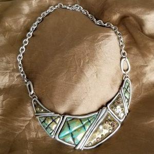 Statement Necklace silver gold aqua
